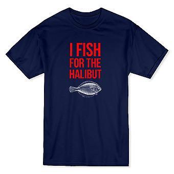 """""""Pescan el fletán"""" citar, camiseta Halibut gráfico hombres"""