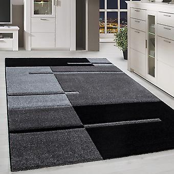 Carpet Modern Designer Contour Cut Lines Geruite Optica Zwarte Grijze Kleuren
