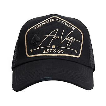 Ace Vestiti - France T-1 Trucker Mesh Gold Power Plate Baseball Cap - Noir