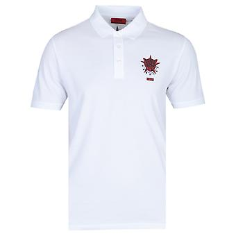 HUGO Disar Berlin Star Logo White Polo Shirt