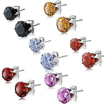Colorful zirconia diamonds studs - six colors to choose from!
