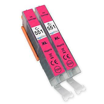 2 Magenta Tintenpatronen ersetzen Canon CLI-551M Compatible/Non-OEM von Go Inks