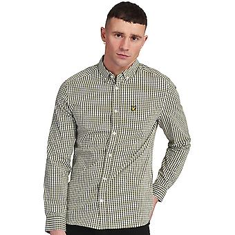 Lyle & Scott Mens Long Sleeve Slim Fit Gingham Oxford Camicia