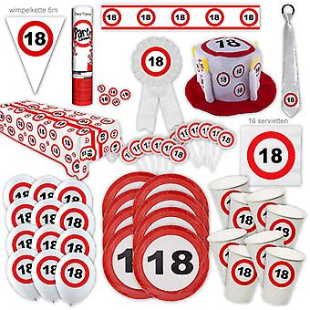 18e verjaardag partij pakket Traffic Sign Design Decoratie Nummer 16 Party Party Box Party Pakket