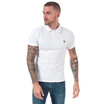 Män & apos; s Timberland Millers River Jacquard Polo Shirt i vitt