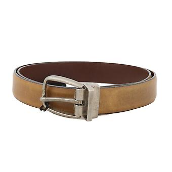Dolce & Gabbana Yellow Leather Gray Vintage Buckle Belt