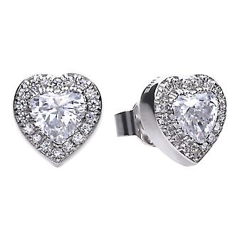 Diamonfire E5589 Silver Pave Heart Stud Earrings