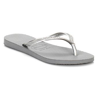 Havaianas Womens Steel Gray Slim Flip Flops