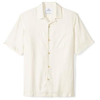 28 Palms Men's Relaxed-Fit 100% Silk Camp Shirt, Natural, X-Large
