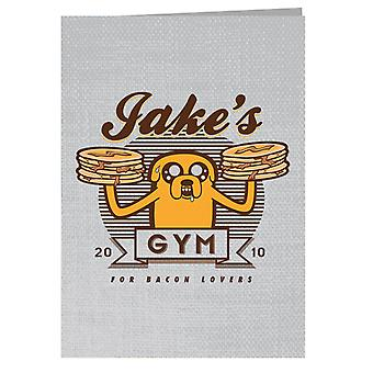 Bacon Lovers Gym Adventure Time Greeting Card