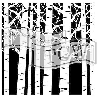 The Crafter's Workshop Aspen Trees 6x6 Inch Stencil