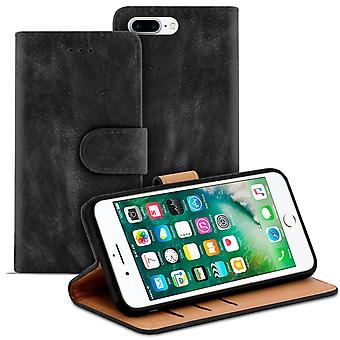 Vintage Book Case with Card Compartment for Apple iPhone 7 Plus/8 Plus Leatherette Black