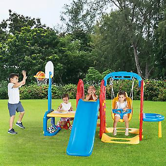 Dolu 7-In-1 Playground with Slide, Basketball Hoop, Swing, Sand Pit Drawing Table, Pull-up Bar Play Center House Activity