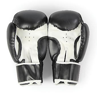 Fitness Mad Synthetic Leather Sparring Gloves Black-14oz