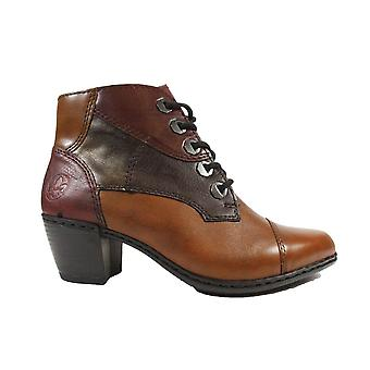 Rieker Y2133-24 Brown Leather Womens Heeled Ankle Boots