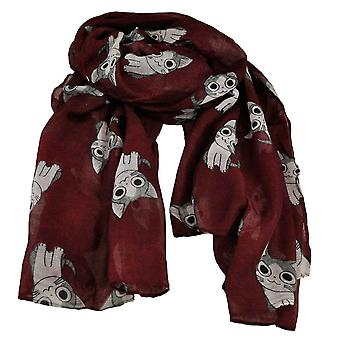 Ties Planet Cat Animal Print Bourgogne Lightweight Women's Châle Scarf