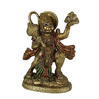 Gold Finish Flying Hanuman Carrying Herb Bearing Mountain Statue