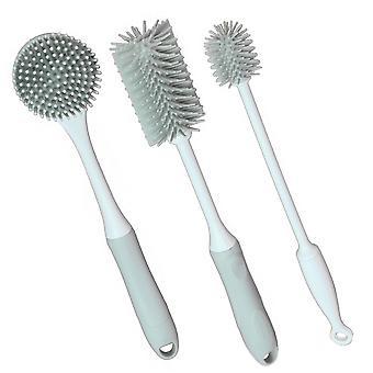 Grijze siliconen reinigingsborstels - Set van 3 | M&W