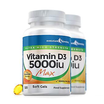 Vitamine D D3 5000iu Max Sterkte Zachte Gel Capsules - 240 Soft Gel Capsules - Vitamine Supplement - Evolution Slimming