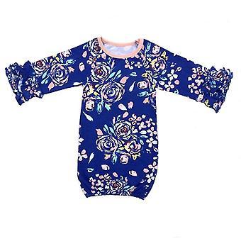 Νεογέννητο φόρεμα ύπνου - βολάν μακρύ μανίκι χρυσό φόρεμα νύχτας