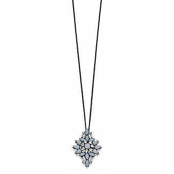 Fiorelli Fashion Gunmetal Plated Grey & Clear Crystal Cluster Necklace 60cm + 5cm
