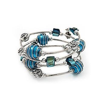 Silver Tone Beaded Multistrand Flex armbånd - Teal blå
