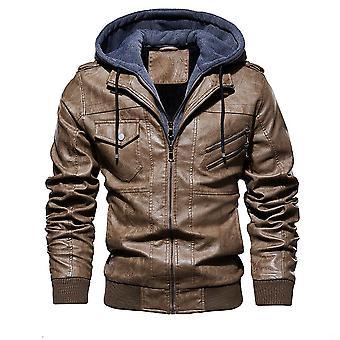 Men's Zimné Teplé fleece bundy a kabáty jeseň Hat odnímateľný