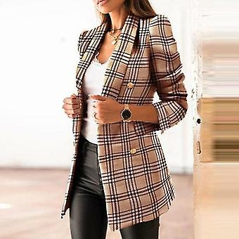 Casual Double-breasted Plaid Suits