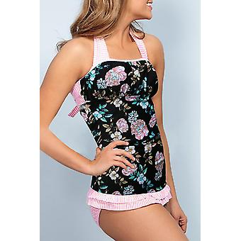 Floral Open Back Ruched Halter Top Shorts Tankini Set