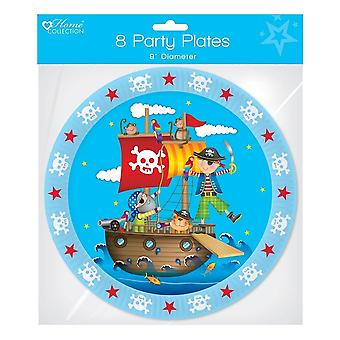 """Pack of 8 childrens birthday party 9"""" paper plates - boys pirate"""