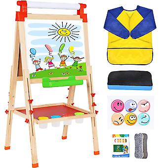 Wesimplelife kids art easel wooden easel double sided green and white board 3 in 1 adjustable table