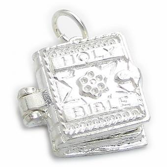 Bible Ouverture Sterling Silver Charme .925 X 1 Avec Lords Prayer. - 4746