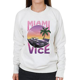 Miami Vice Car And Palm Tree Women's Sweatshirt