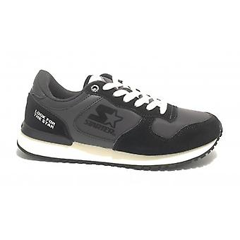 Running Men's Starter Sneaker in Suede/ Nylon Dark Grey/ Black/ White U20st02