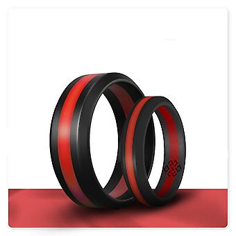 Deep Red Stripe Silicone Ring And Women