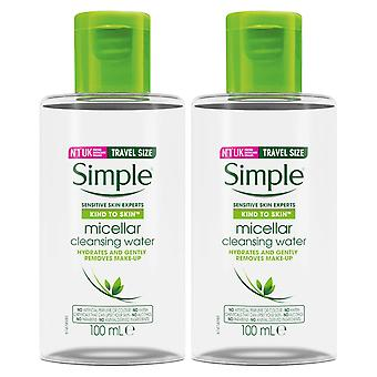 2x100ml Simple Kind to Skin Travel Size Make-Up Remover Micellar Cleansing Water 2x100ml Simple Kind to Skin Travel Size Make-Up Remover Micellar Cleansing Water 2x100ml Simple Kind to Skin Travel Size Make-Up Remover Micellar Cleansing Water 2