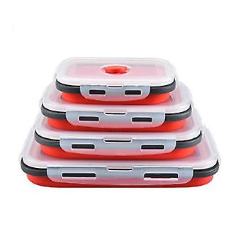 Set Of 4 Collapsible Silicone Food Storage Container,food Storage Box