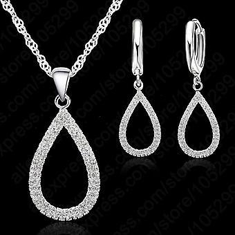 Ensemble romantique de bijoux de boucle d'oreille de collier de mariée