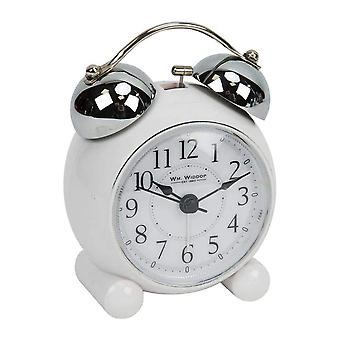 Widdop & Co. weiß Retro Glocke Alarm Silent Sweep nicht tickenden Batterie betrieben Quarzuhr 5150w