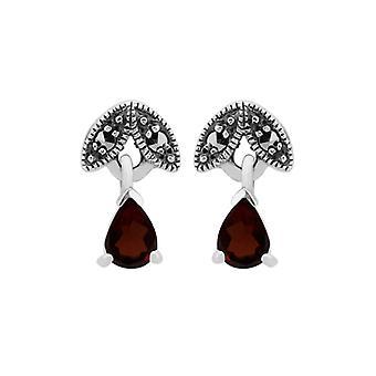 Art Nouveau Style Päärynä Garnet & Marcasite Drop korvakorut 925 Sterling Hopea 214E686108925