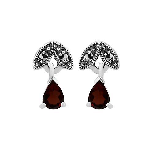Sterling Silver Garnet & Marcasite January Stud Earring & 45cm Necklace Set