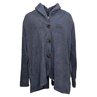Cuddl Duds Women's Sweater Stretch Button Front Blazer Cardi Blue A369667