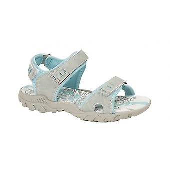 PDQ Sandy Ladies Faux Nubuck Velcro Sports Sandals Light Grey/mint