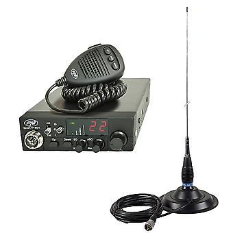 Kit CB radio PNI ESCORT CB 8024 ASQ + CB PNI ML145 antenna with magnet 145 / PL