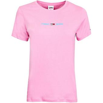 Tommy Jeans Linear Logo Slim Fit Crew Neck T-Shirt