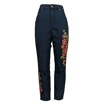 Martha Stewart jeans de mujer bordados skinny tobillo azul