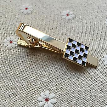 Masonic black and white checkered tie clip