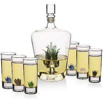 HanFei Tequila Dekanter-Set mit Agave-Dekanter und 6 Agave-Schnapsgläsern, perfekt für jede Bar oder