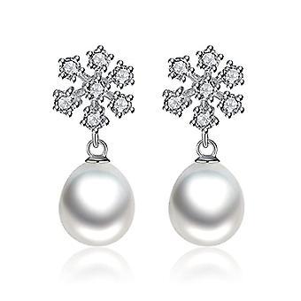 Gemshadow women 925 sterling Silver Snowflake, cubic zirconia, 8 - 9 mm pearl grown earrings