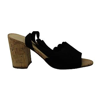 Marc Fisher Piya Lace-Up Cork Block-Heel S Black Suede 9.5M